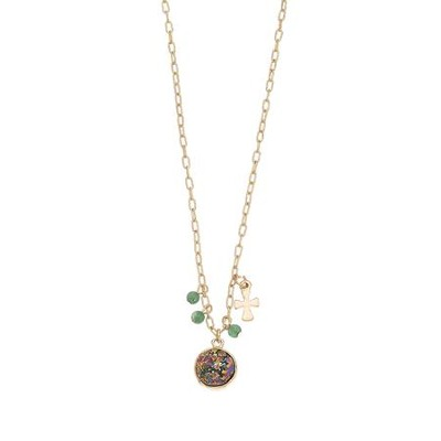 Pink and Gray Stone and Cross Charm Necklace  -