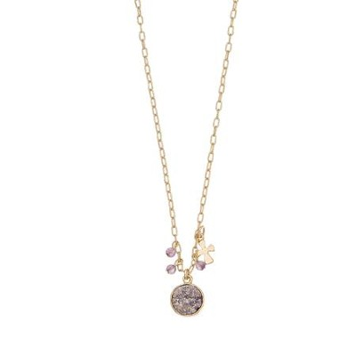 Purple Stone and Cross Charm Necklace  -