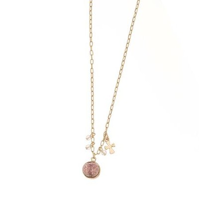 Light Pink Stone and Cross Charm Necklace  -