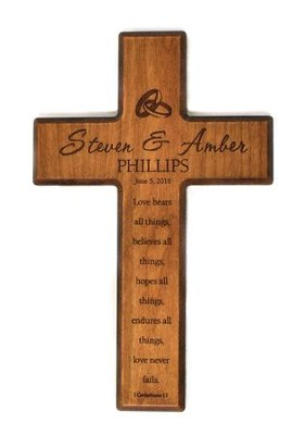Personalized, Small Cross, Love Never Fails, Cherry   -