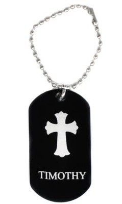 Personalized, Aluminum Dog Tag, Cross, Black   -