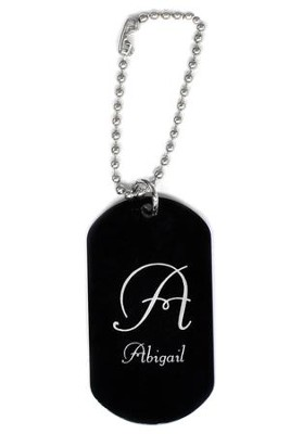 Personalized, Aluminum Dog Tag, Initial, Black   -