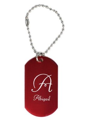 Personalized, Aluminum Dog Tag, Initial, Red   -