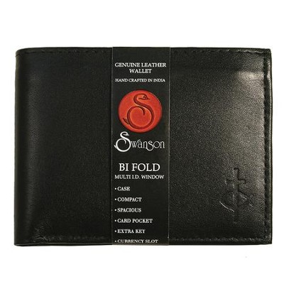 Bifold Wallet with Center Flap, Black   -