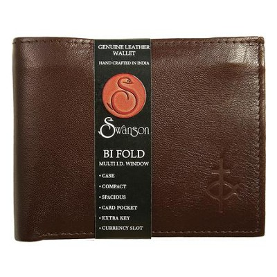 Bifold Wallet with Top Flap, Brown   -