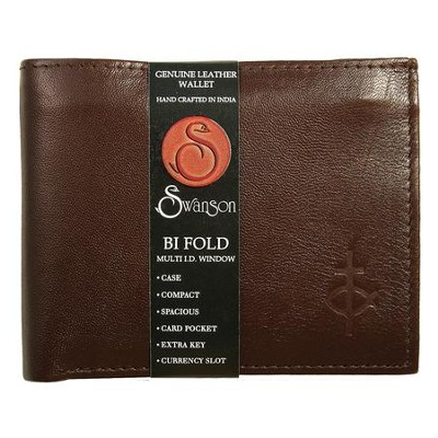 Bifold Wallet with Center Flap, Brown   -