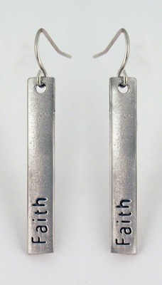 Faith Pewter Plate Earrings  -