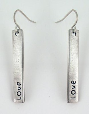 Love Pewter Plate Earrings  -