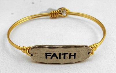 Oxidized Brass Bracelet with Pewter Bar, Faith  -