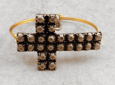 Oxidized Brass Bracelet with Pewter Textured Cross  -
