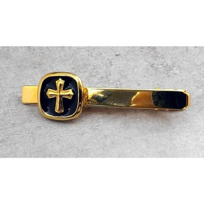 Black Epoxy Tie Pin with Gold Cross  -