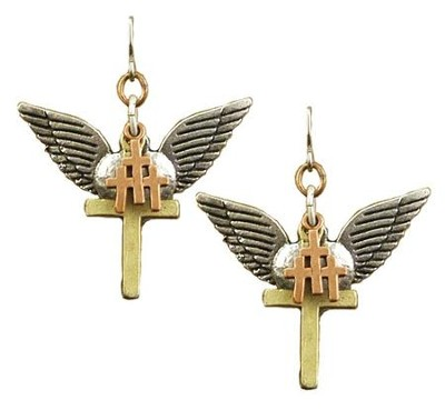 Heart with Wings, Triple Cross, Thin Cross Tri-Tone Earrings  -
