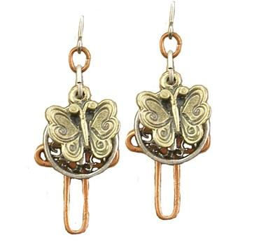 Butterfly, Small Cross, Open Cross Tri-Tone Earrings  -