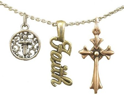 Small Cross, Faith, Flair Cross, Tri-Tone Necklace  -