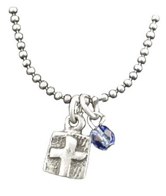 Wax Seal Cross Necklace, with Sapphire Bead  -