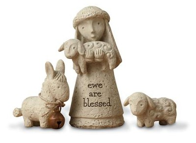 Bless You Nativity, Shepherd and Animals, Set of 3  -     By: Karen Hahn