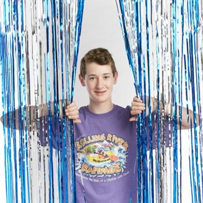 Rolling River Rampage: Blue/Silver Foil Decorating Curtain  -