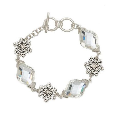 Crystal and Filigree Snowflake Bracelet, Silver  -