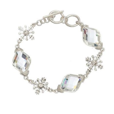 Crystal and Large Snowflake Bracelet, Silver  -