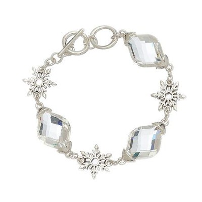 Crystal and Small Snowflake Bracelet, Silver  -