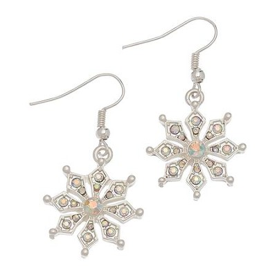 Crystal Snowflake Earrings, Silver  -