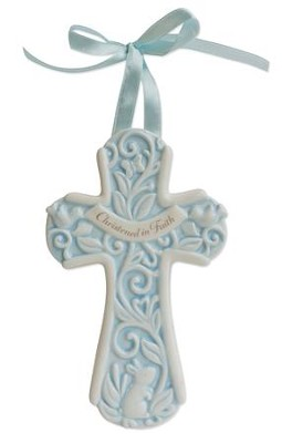 Christened in Faith Wall Cross, Blue  -