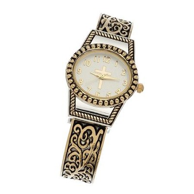Cuff Watch with Cross, Gold Filigree  -