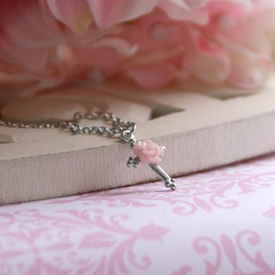 Cross with Rose Necklace  -