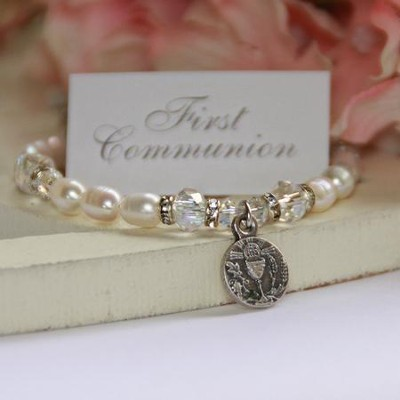 First Communion Bracelet with Freshwater Pearls  -