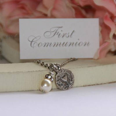 First Communion Necklace with Freshwater Pearls  -