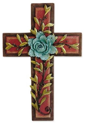 Teal Rose Wall Cross  -