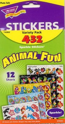 Animal Fun Variety Pack Sparkle Stickers  -