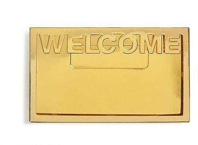 Welcome Badge, Brass with Bold Lettering   -