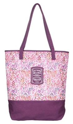 Give Thanks, Purple Tote Bag  -