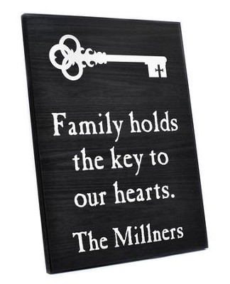 Personalized, Lithograph Plaque, Key To Our Hearts,  Black  -