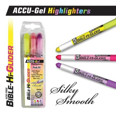 Gel Bible Highlighter, 3 Piece Set, Yellow, Pink, Violet  -