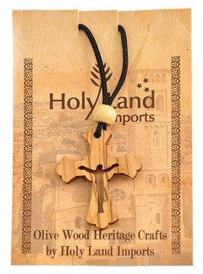 Olive Wood Risen Cross Pendant on Cord  -