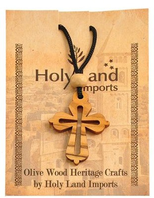 Olive Wood Rounded Cross Pendant on Cord  -