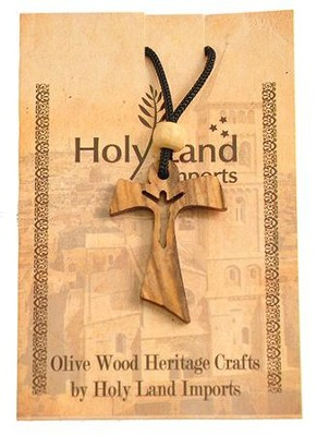 Olive Wood Holy Cross Pendant on Cord  -