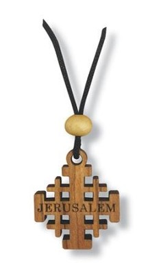 Olive Wood Jerusalem Cross Pendant on Cord  -
