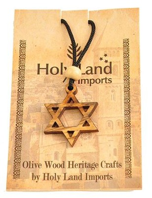 Olive Wood Star of David Pendant on Cord  -