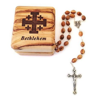 Olive Wood Box With Rosary  -