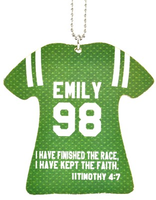 Personalized, Jersey Keychain, Keep The Faith, Girl,   Green  -