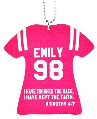 Personalized, Jersey Keychain, Keep The Faith, Girl, Pink  -