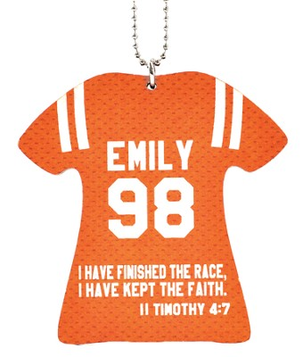 Personalized, Jersey Keychain, Keep The Faith, Girl, Orange  -