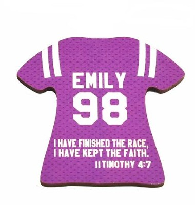 Personalized, Jersey Magnet, Keep The Faith, Girl,  Purple  -