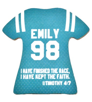 Personalized, Jersey Magnet, Keep The Faith, Girl, Teal   -