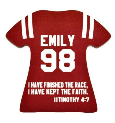 Personalized, Jersey Magnet, Keep Ther Faith, Girl,  Burgundy  -