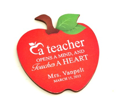 Personalized, Apple Magnet, A Teacher Opens A Mind And  Touches A Heart  -