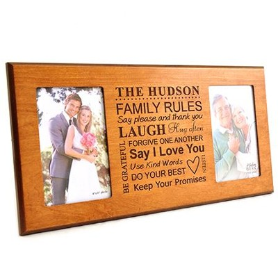 Personalized, Double Photo Frame, Family Rules, Cherry,  4X6  -